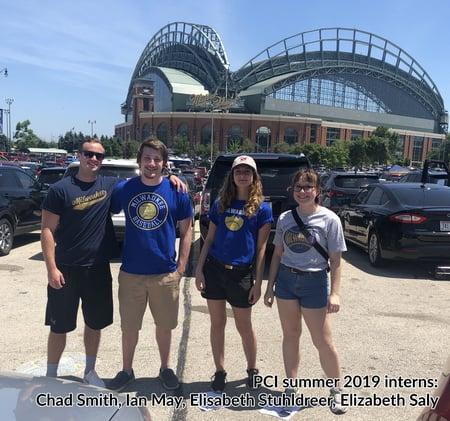 PCI summer 2019 interns attend a Milwaukee Brewers game at Miller Park