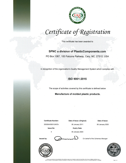 Syracuse Plastics of North Carolina ISO 9001:2015 Certificate of Registration