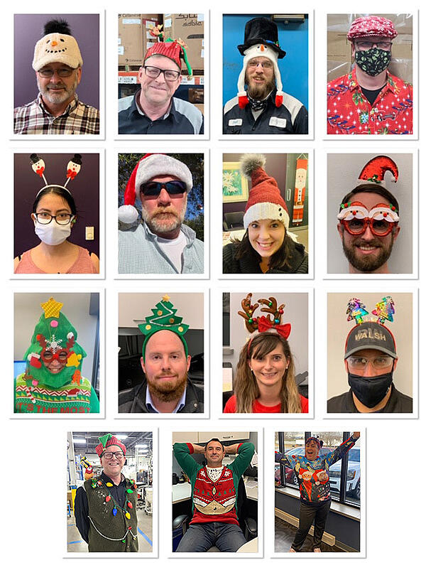 PCI team members showing off their holiday hats and sweaters