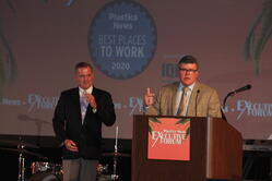 Derril Rice accepting the Plastics News Best Places to Work 2020 award.