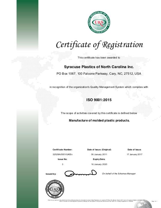 Syracuse Plastics of North Carolina ISO 9001:2015 Certificate of Registration